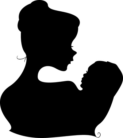 maternal: Illustration of a Mother and Child Silhouette