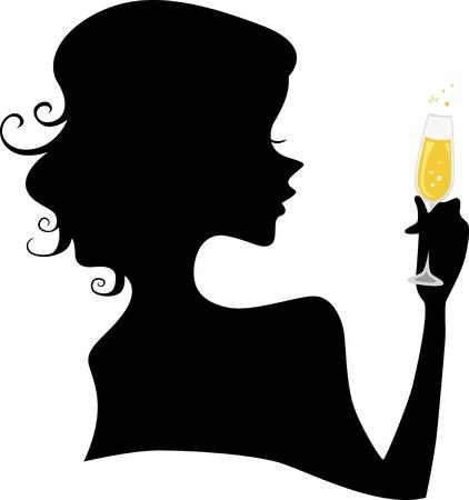 brindisi spumante: Illustrazione della silhouette di una ragazza in possesso di un bicchiere di champagne Archivio Fotografico