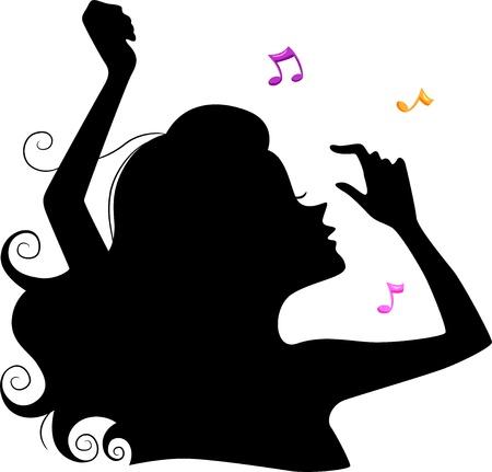 Illustration of a Girls Silhouette Dancing  illustration