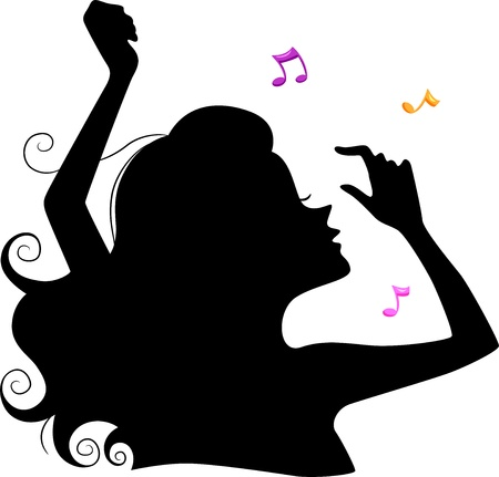 frolic: Illustration of a Girls Silhouette Dancing