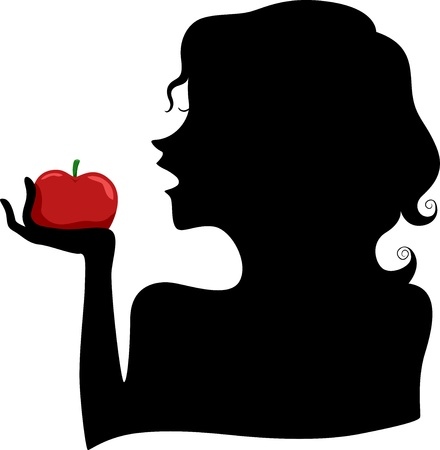 Illustration of a Girls Silhouette eating a Red Apple illustration