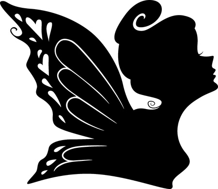 fairy silhouette: Illustration of a Fairy Girls Silhouette Stock Photo