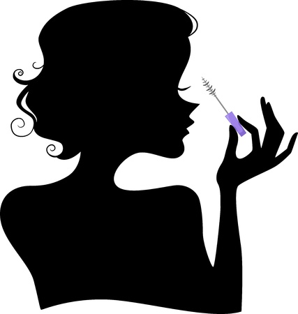 mascara: Illustration of a Girls Silhouette holding a Mascara Brush