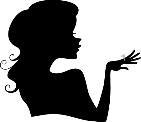 girl with rings: Illustration of Girls Silhouette wearing a Diamond Ring Stock Photo