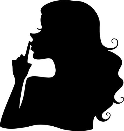 quiet adult: Illustrazione della silhouette di una ragazza con il dito sulle labbra di puntamento