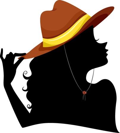 cowgirl hat: Ilustraci�n de la silueta de la muchacha que lleva un sombrero de vaquera
