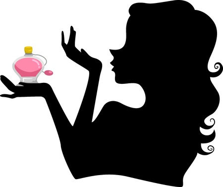 Illustration of a Girls Silhouette Smelling her Wrist while holding a Bottle of Perfume illustration