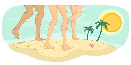 Illustration of Bare Feet Running on Sandy Beach Stock Illustration - 19253720
