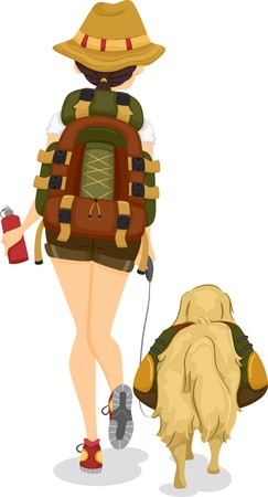 Illustration of a Girl and a Dogs Backview while Trekking or Hiking illustration