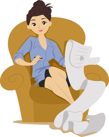 shopping list: Illustration of a Girl Sitting on a Couch making a Long List