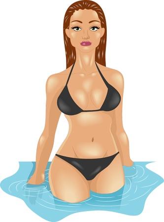 foxy girls: Illustrazione di una ragazza in bikini Ottenere fuori dall'acqua