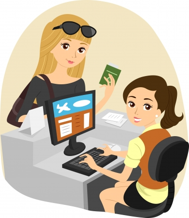 counter service: Illustration of a Girl Checking In at the Airport Stock Photo