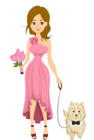 bridesmaid: Illustration of a Bridesmaid with her Pet Dog