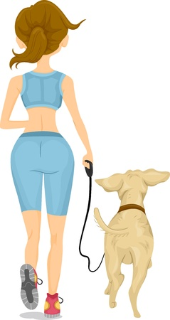 dog leash: Illustration showing Back View of a Girl Jogging with her Dog Stock Photo