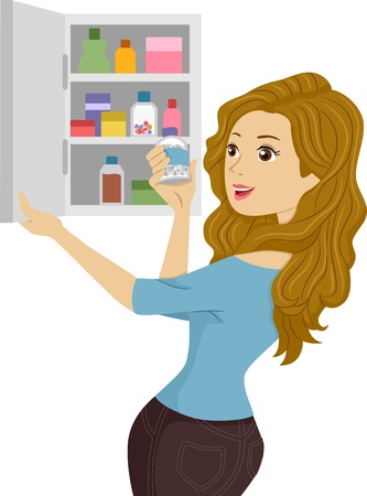 toiletries: Illustration of a Girl opening a Medicine Cabinet Stock Photo