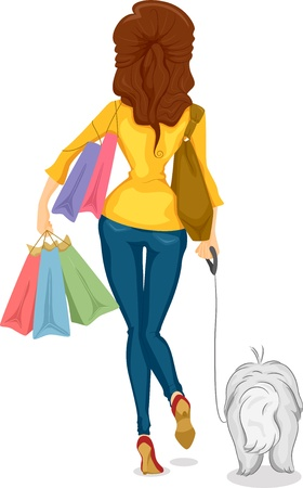rear view girl: Illustration showing the Back View of a Girl Shopper with her Dog