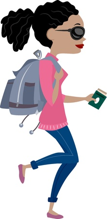 sideview: Illustration showing Sideview of a Girl Traveling with Backpack