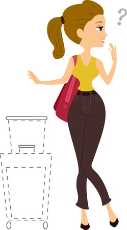clueless: Illustration of a Girl with Missing Traveling Bag