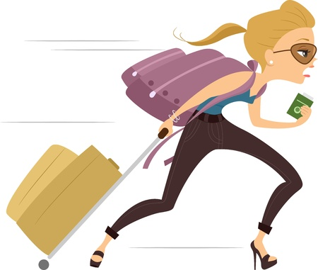 late: Illustration of a Girl running Late for Flight