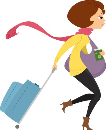 sideview: Illustration showing Sideview of a Girl Traveling on Winter Stock Photo