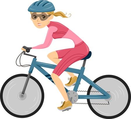 dibujos animados de mujeres: Ilustraci�n de una ni�a montando una bicicleta de triatl�n Foto de archivo
