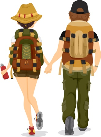 rear view girl: Illustration showing Back View of a Couple wearing Backpacks for Hiking