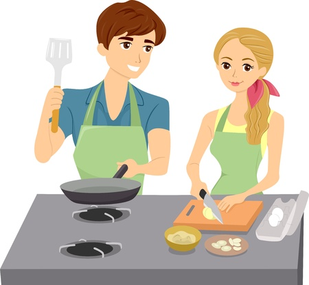 Illustration of Couple Cooking wearing Matching Aprons illustration