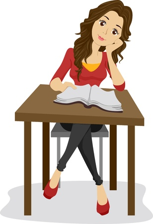 Illustration of a Girl with an Open Book Stock Illustration - 20040395