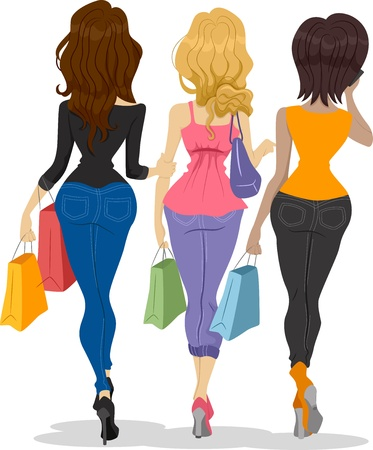 Illustration showing the Back View of Girl Shoppers Stock Illustration - 20040519