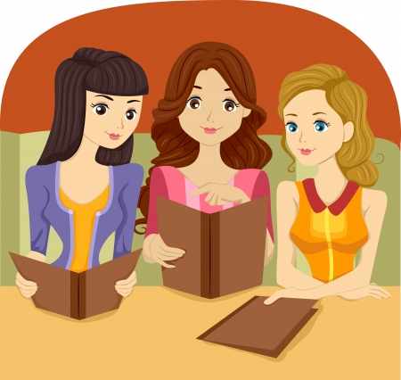 girl's night out: Illustration of Girls holding a Restaurant Menu