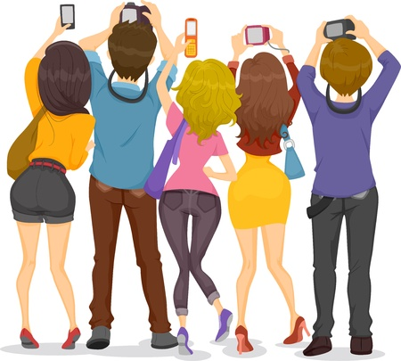 back to camera: Illustration showing Back View of Teenagers Taking Pictures with their Cameras Stock Photo