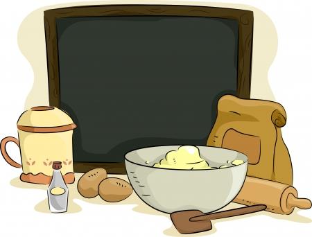 제빵 재료와 재료와 함께 빈 보드의 그림