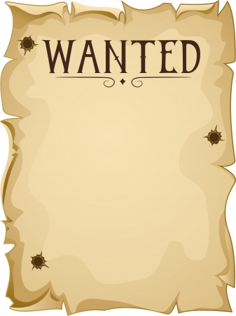 parchments: Illustration of a Blank Wanted Poster Stock Photo