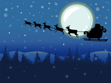 clip art santa claus: Backround Illustration of Santa Claus riding in Flying Sleigh driven by Reindeers