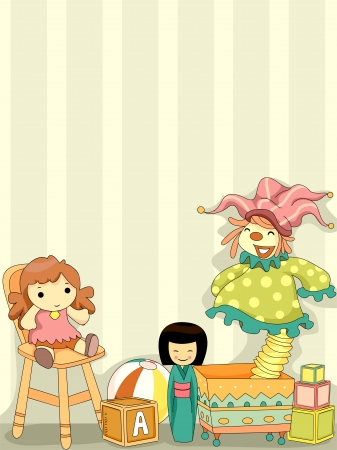 playroom: Background Illustration of Dolls and Toys