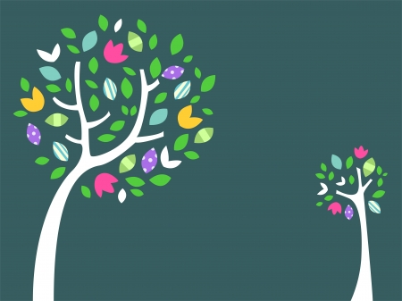 mother earth: Illustration of Trees in Green Background