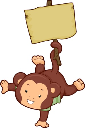 Illustration of an Upside-Down Monkey holding a Blank Wooden Board by its Tail illustration
