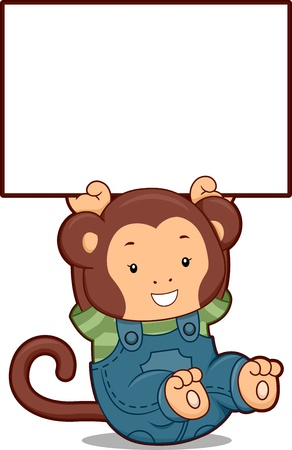 Illustration of a Monkey in Denim Jumper holding up a Blank Board illustration