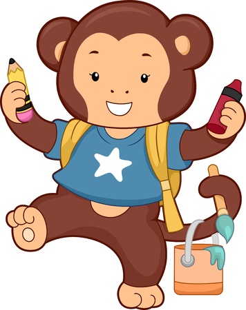 Illustration of Monkey carrying dfferent School Art Supplies Stock Illustration - 20040498
