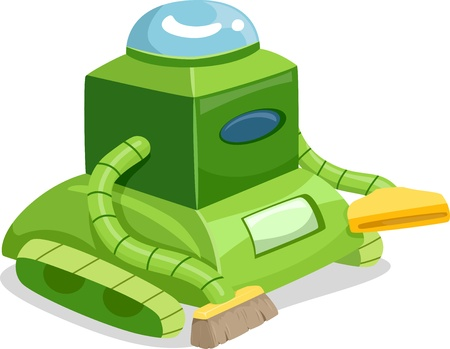 Illustration of a Robot Cleaner with Vacuum and Brush Stock Illustration - 20040403