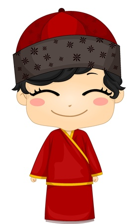 chinese dress: Illustration of Cute Little Chinese Boy Wearing Traditional Costume Changsam Stock Photo