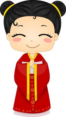 Illustration of Cute Little Chinese Girl Wearing Traditonal Costume Cheongsam illustration