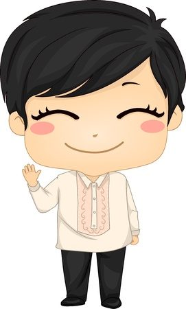 philippines: Illustration of Cute Little Filipino Boy Wearing Traditional Costume Barong Tagalog