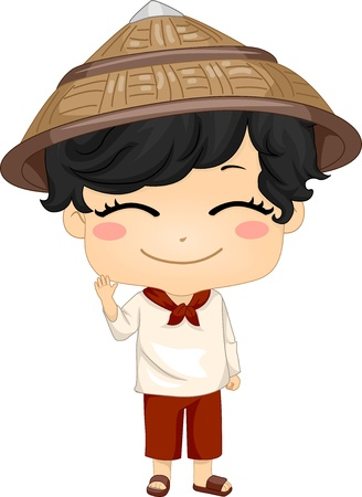 Illustration of Cute Little Filipino Boy Wearing Traditional Costume Kamisa de Chino illustration