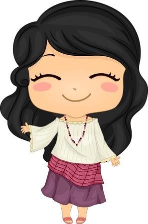 전통 의상 Kimona를 입고 귀여운 작은 필리핀 소녀의 그림 스톡 콘텐츠
