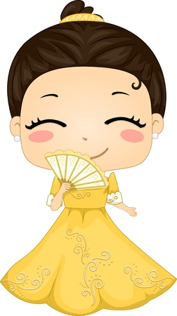 young asian girl: Illustration of Cute Little Filipina Girl wearing Traditional Costume Barot Saya