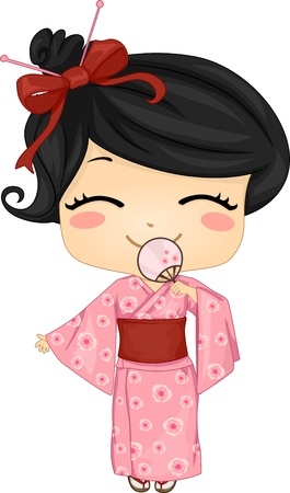 yukata: Illustration of Cute Little Japanese Girl Wearing Traditonal Costume Stock Photo