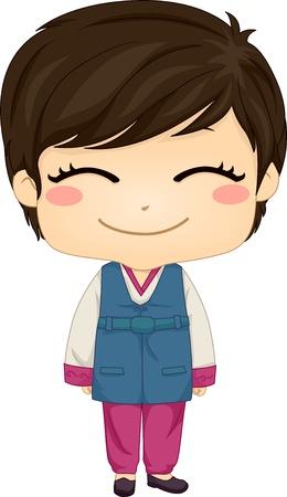 hanbok: Illustration of Cute Little Korean Boy wearing Traditonal Costume