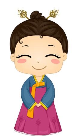 Illustration of Cute Little Korean Girl Wearing Traditional Costume illustration