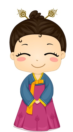 korean traditional: Illustration of Cute Little Korean Girl Wearing Traditional Costume